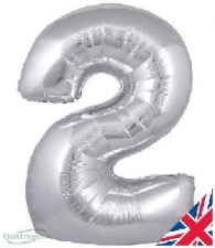 30 INCH FOIL SILVER NUMBER BALLOON 2