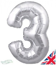 30 INCH FOIL SILVER NUMBER BALLOON 3