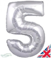 30 INCH FOIL SILVER NUMBER BALLOON 5
