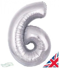 30 INCH FOIL SILVER NUMBER BALLOON 6