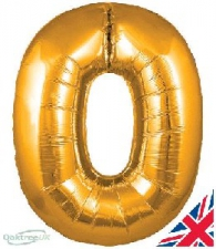 30 INCH FOIL GOLD NUMBER BALLOON 0
