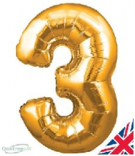 30 INCH FOIL GOLD NUMBER BALLOON 3