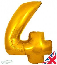 30 INCH FOIL GOLD NUMBER BALLOON 4
