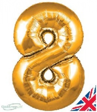 30 INCH FOIL GOLD NUMBER BALLOON 8
