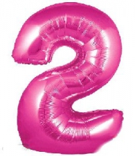 30 INCH FOIL PINK NUMBER BALLOON 2