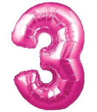 30 INCH FOIL PINK NUMBER BALLOON 3