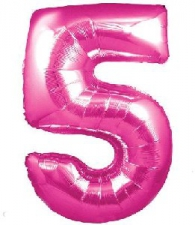 30 INCH FOIL PINK NUMBER BALLOON 5