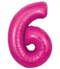 30 INCH FOIL PINK NUMBER BALLOON 6