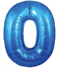 30 INCH FOIL BLUE NUMBER BALLOON 0