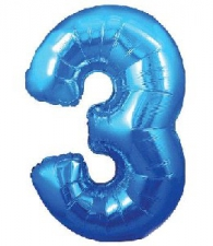 30 INCH FOIL BLUE NUMBER BALLOON 3