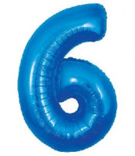 30 INCH FOIL BLUE NUMBER BALLOON 6