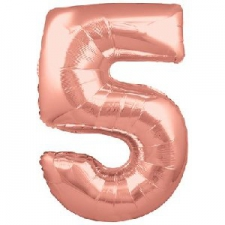 34 INCH FOIL ROSE GOLD NUMBER BALLOON 5