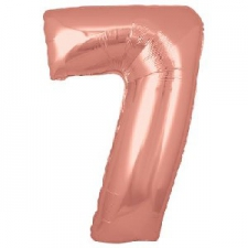 34 INCH FOIL ROSE GOLD NUMBER BALLOON 7
