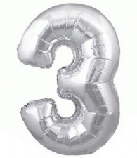 34 INCH FOIL SILVER NUMBER BALLOON 3
