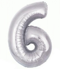 34 INCH FOIL SILVER NUMBER BALLOON 6
