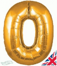 34 INCH FOIL GOLD NUMBER BALLOON 0