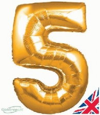 34 INCH FOIL GOLD NUMBER BALLOON 5