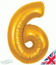 34 INCH FOIL GOLD NUMBER BALLOON 6