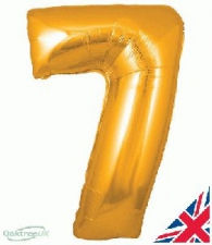 34 INCH FOIL GOLD NUMBER BALLOON 7