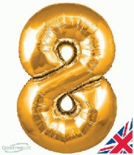34 INCH FOIL GOLD NUMBER BALLOON 8