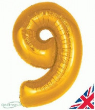 34 INCH FOIL GOLD NUMBER BALLOON 9