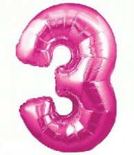 34 INCH FOIL PINK NUMBER BALLOON 3
