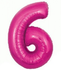 34 INCH FOIL PINK NUMBER BALLOON 6