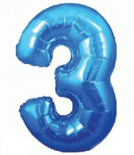 34 INCH FOIL BLUE NUMBER BALLOON 3