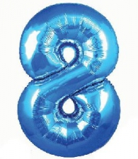 34 INCH FOIL BLUE NUMBER BALLOON 8