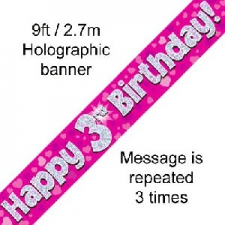 BANNER SMALL HAPPY 3RD BIRTHDAY PINK