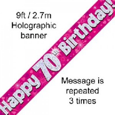 BANNER SMALL HAPPY 70TH BIRTHDAY PINK