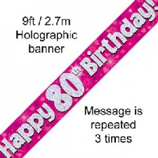 BANNER SMALL HAPPY 80TH BIRTHDAY PINK