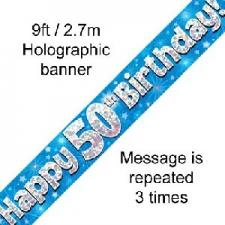 BANNER SMALL HAPPY 50TH BIRTHDAY BLUE