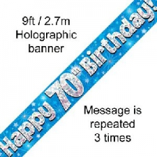 BANNER SMALL HAPPY 70TH BIRTHDAY BLUE