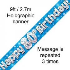 BANNER SMALL HAPPY 80TH BIRTHDAY BLUE