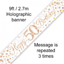 BANNER SMALL SPARKLING FIZZ ROSE GOLD HAPPY 50TH B