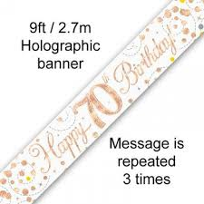 BANNER SMALL SPARKLING FIZZ ROSE GOLD HAPPY 70TH B