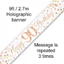 BANNER SMALL SPARKLING FIZZ ROSE GOLD HAPPY 90TH B