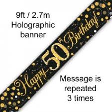 BANNER SMALL SPARKLING FIZZ BLACK HAPPY 50TH BIRTH