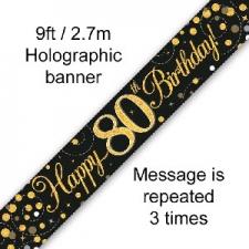 BANNER SMALL SPARKLING FIZZ BLACK HAPPY 80TH BIRTH
