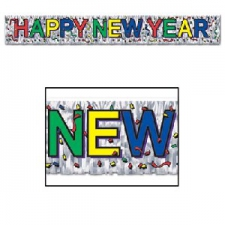 HAPPY NEY YEAR METALIC FRINGE BANNER