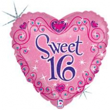 18 INCH FOIL 16 SWEET HEART PINK SPARKLES
