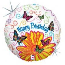 18 INCH FOIL HAPPY BIRTHDAY BALLOON BUTTERFLY ART