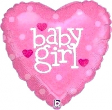 18 INCH FOIL BABY GIRL BALLOON HEART