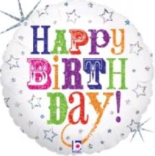 18 INCH FOIL HAPPY BIRTHDAY BALLOON GREETINGS /WHI