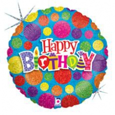 18 INCH FOIL HAPPY BIRTHDAY BALLOON DOTS