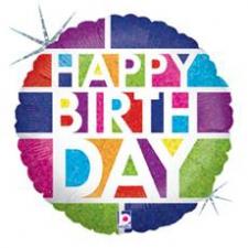 18 INCH FOIL HAPPY BIRTHDAY BALLOON BLOCK BIRTHDAY