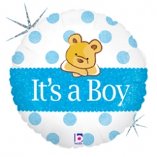 18 INCH FOIL BABY BOY DOTS