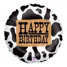 18 INCH FOIL HAPPY BIRTHDAY BALLOON COW PRINT