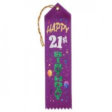 AWARD RIBBON HAPPY 21ST BIRTHDAY